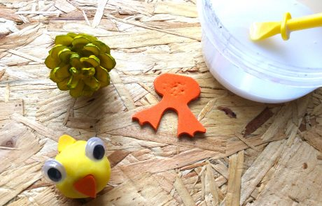 pine cone Easter chick assembly