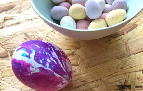 kitchen towel dyed Easter eggs