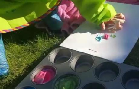 child using shaving foam paint