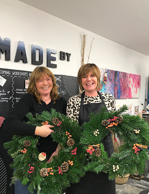 christmas wreath making class Caversham Reading Berkshire