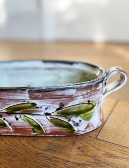 Coloured slips on clay pottery workshop Caversham Reading Berkshire