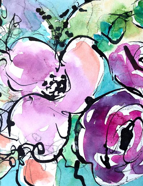 watercolour and ink workshop Caversham Reading Berkshire Elizabeth Baldin